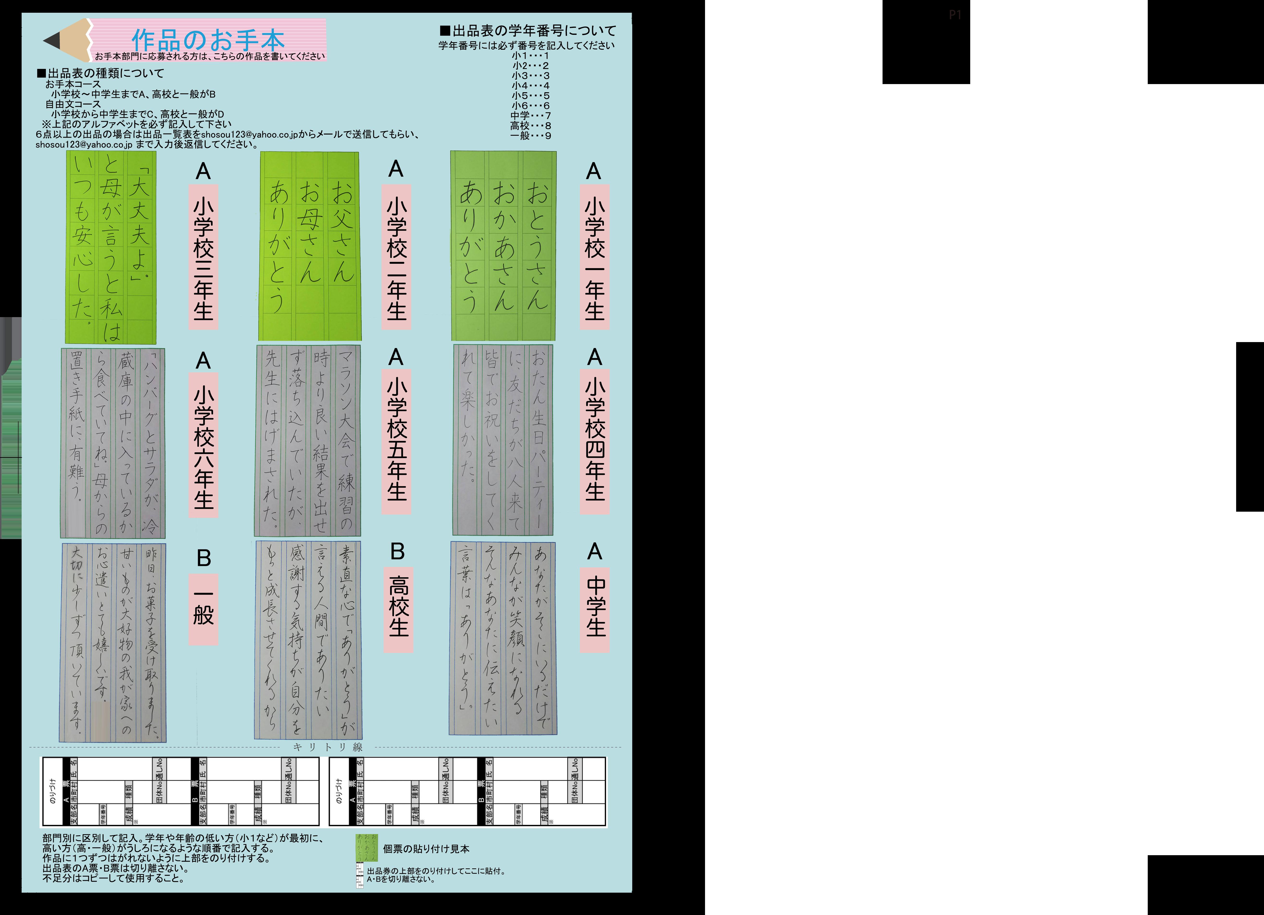 第9回ボールペン字大賞概要2ページ目
